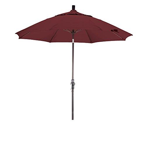 Glass Ribs (California Umbrella 9' Round Aluminum Pole Fiberglass Rib Market Umbrella, Crank Lift, Collar Tilt, Bronze Pole, Terracotta)