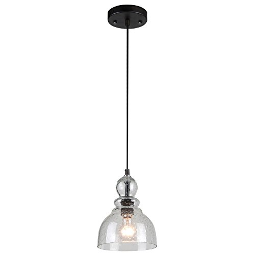Westinghouse 6100800 Industrial One-Light Adjustable Mini Pendant with Handblown Clear Seeded Glass, Oil Rubbed Bronze Finish (Pendant Light Fixtures For Kitchen)