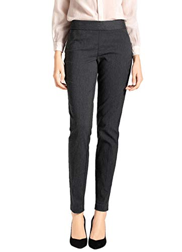 SATINATO Women's Straight Pants Stretch Slim Skinny Solid Trousers Casual Business Office (16 Regular, Zipper Free-Charcoal)