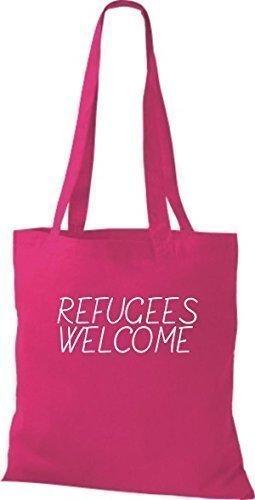 ShirtInStyle Bolso de mano Bolsa de algodón Refugiados welcome, refugiados, Mantente a la derecha, murió. Colores - fucsia Fucsia