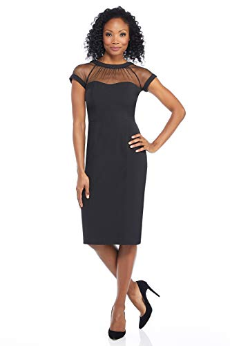 Maggy London Women's Illusion Cap-Sleeve Crepe Dress, Black, 4
