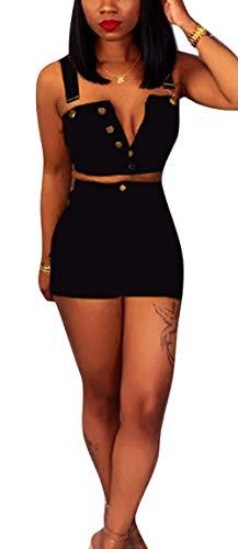 Womens Summer Fashion Denim 2 Piece Jumpsuit Set Backless Tops High Waist Short Set Small Black ()