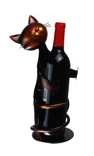"Metal Cat - Decorative Wine Bottle Holder - Caddy - Display - 13"" Tall"" X 4.5"""