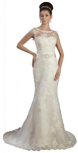 Tulle Dresses Court Scoop Ivory Neck Column Women's Wedding Sheath Train Dearta wqz0RBgxp