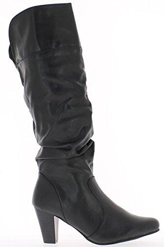 Botas Negro mujeres se duplicó a tacón 7cm
