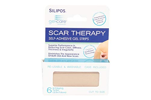 Silipos 92838 Gel-Care Advanced Scar Therapy Self-Adhesive Gel Strips, 6-Pack, 1x3 in, Washable, Reusable, Scar Management