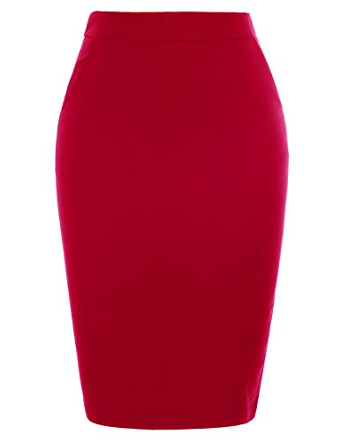 (Kate Kasin Women's Stretchy Cotton Pencil Skirt Slim Fit Business Skirts (Red(KK1185), Large))