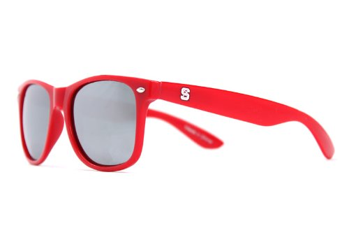NCAA North Carolina State Wolfpack NCST-1 Red Frame, Silver Lens Sunglasses, One Size, Red (Wolf Sunglasses North)