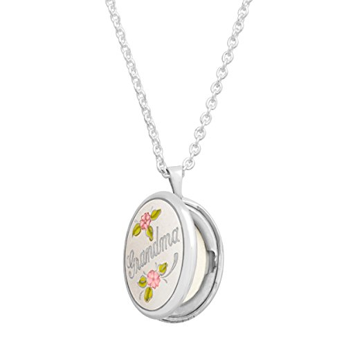 (Grandma' Locket Necklace Pendant with Enamel Roses in Sterling Silver)