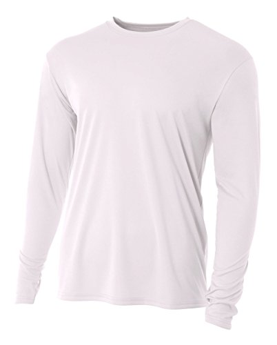 (A4 Men's Cooling Performance Crew Long Sleeve T-Shirt, White, Large)