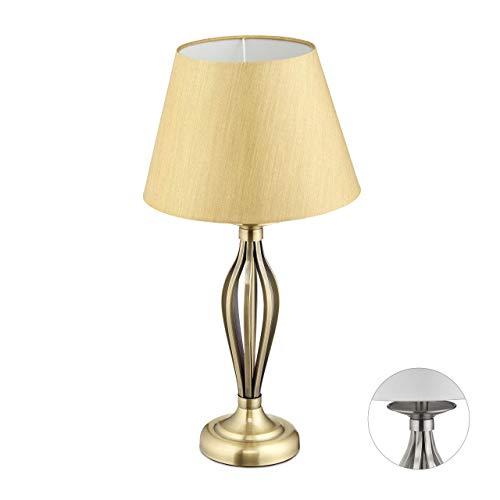 Relaxdays, Gouden lampenkap, decoratieve tafellamp met schakelaar, antiek design, E27-fitting, decoratieve lamp, HD: 53…