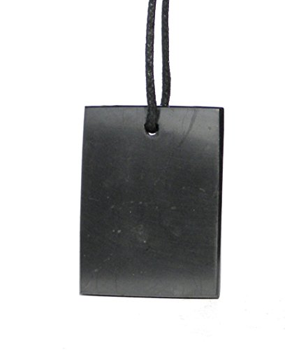 Karelia Shungite Pendant. EMF Protection Stone. Genuine Shungite Guarantee. (Rectangle) ()