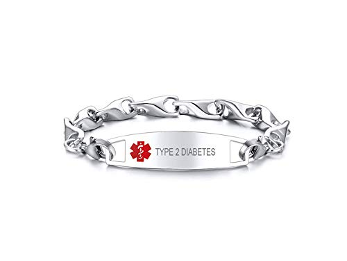 VNOX Type 2 Diabetes Emergency Medical Alert ID Special Link Chain Double Lobster Clasp Stainless Steel Bracelet for Women,Replacement,8