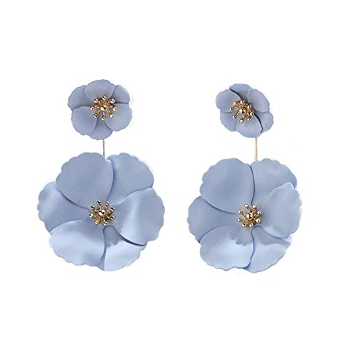 Dual Dangle - Dual Layer Fabric Flower Petal Tiered Earrings Fashion Metal matte Earrings,Pierced Garden Party Drop Dangle Ear Stud Earrings Jewelry for Women Girls (Lavender)