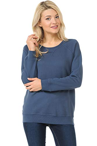 - YURO-K Women's Pigment Dyed Cotton Long Sleeve Crew Neck Vintage Raglan Sweatshirt Pullover (Ink, Large)