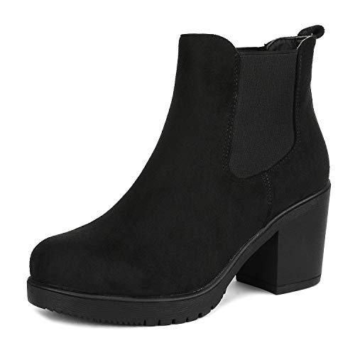 DREAM PAIRS Women's FRE Black High Heel Ankle Boots 7 B(M) US (Best Chelsea Boots 2019)