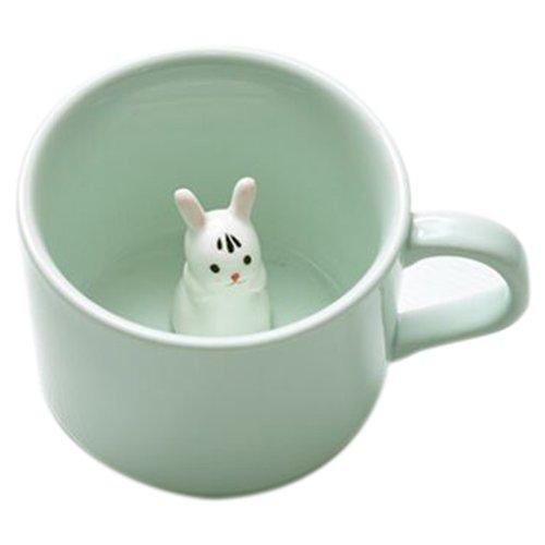 ceramic cup - TOOGOO(R)Creative small ceramic milk mug with animals cute cartoon three-dimensional coffee cup Heat-resistant Celadon cup nice gift£¨White Rabbit£