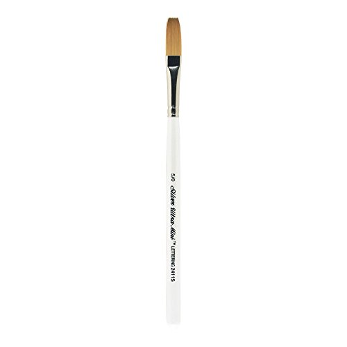 Silver Brush 2411S-5/0 Ultra Mini Short Handle Golden Taklon Brush, One Stroke, Size 5/0