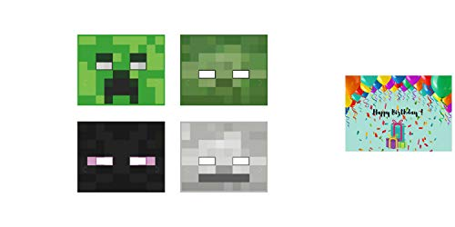 Minecraft Birthday Party Masks - Set of 16 Masks Bundled with Birthday Card by JPMD Party House ()