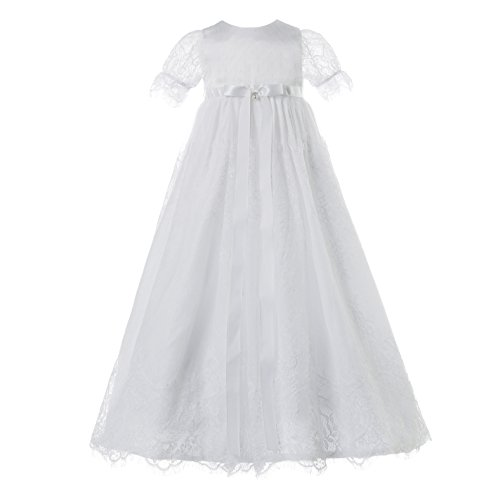 NIMBLE Baby Girls Baptism Christening Elegant Meshed Lace Gown for 0-12 (Satin Organza Christening Dress)