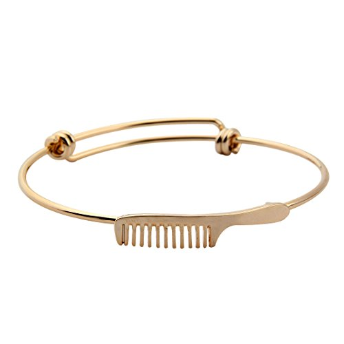 BOYZUO Minimalist Stacking Adjustable Hairdresser Comb Wire Bangle (Gold comb)