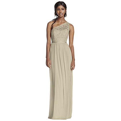 Bridesmaid Metallic Shoulder Long Bridal Style Dress David's Gold Lace One F17063 TXxOqnwanP