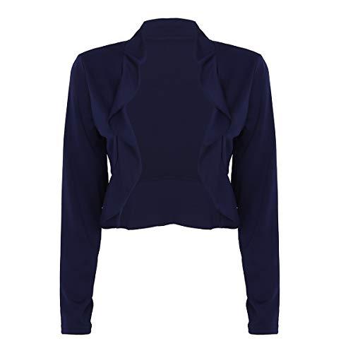 (ACSUSS Womens Open Front Cropped Cardigan Draped Ruffles Lightweight Sweaters Navy Blue Medium)