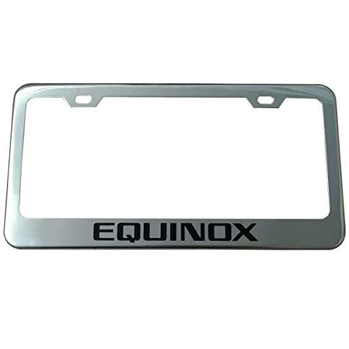 Deselen License Plate Frame for Chevy Equinox Accessories, Stainless Steel with 2 Holes Screw Cap, Chrome in Black Letter (Pair)