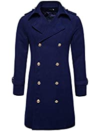 Men's Button Front Double Breasted Mid-Long Wool Pea Coat