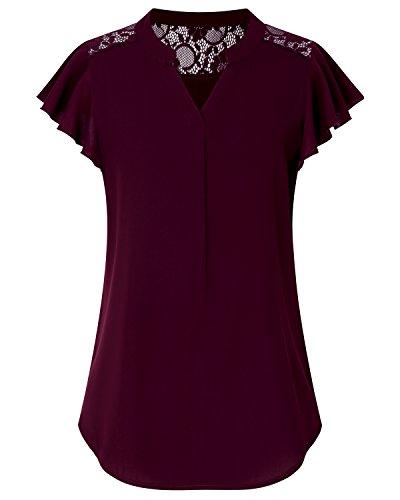 V-neck Blouse Lace - ABYOXI Women Summer Notch V Neck Short Sleeve Lace Splicing Casual Work Chiffon Blouse Tops (XL, Wine)