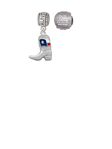 Cowboy Boot with Texas Flag Aunt Charm Bead with You Are More Loved Bead (Set of 2)