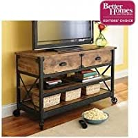 Rustic T.V.Stand with Textured Metal Legs and Fixed Wheels made from 100 % Pine