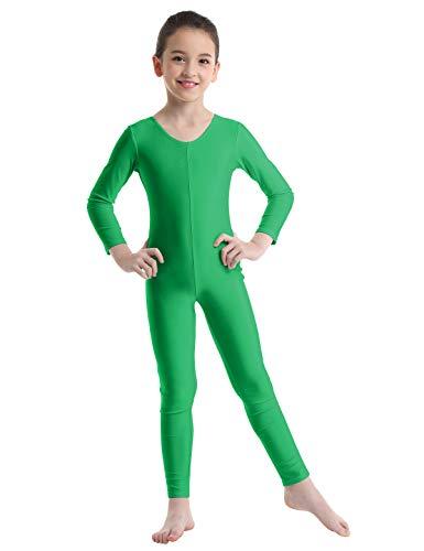 Alvivi Kid's Boys Girls Long Sleeve Unitard Jumpsuit Full Length Body suit Metallic Gymnastics Leotard Dance wear Costumes Green 8-10]()