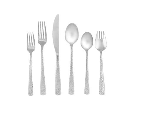 (Cambridge Silversmiths 344047CSPB15R Arie Mirror Hammered 18/0, 39 Piece Flatware Set, Service for 6, Silver)
