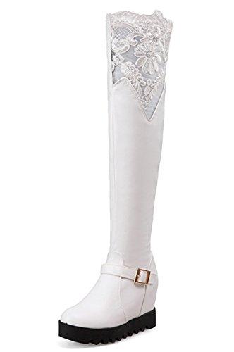 YE Damen Wedges Overknee Stretch Stiefel High Heels Plateau mit Keilabsatz Schnallen und Reißverschluss 5cm Absatz Boots Weiß