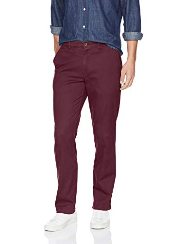 - Amazon Essentials Men's Straight-Fit Casual Stretch Khaki, Burgundy, 33W x 32L