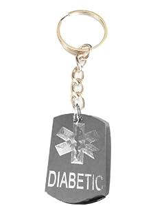 Medical Emergency Diabetic Logo Symbols - Metal Ring Key Chain Keychain