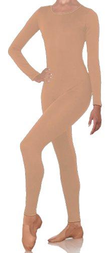 DanceNwear Cotton Blend (Cotton/lycra) Adult Scoop Neck Long Sleeve Footless Unitard (MEDIUM, Nude)