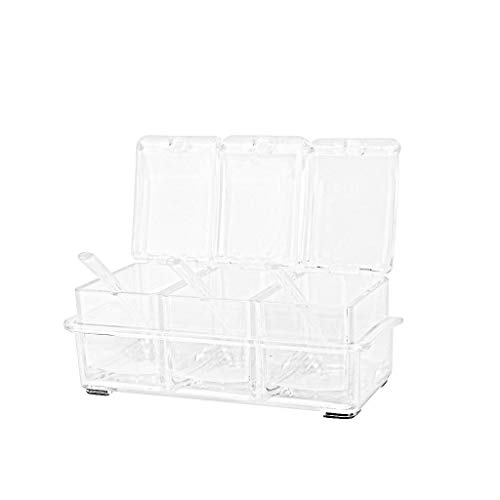 JDgoods Clear Seasoning Rack Spice Pots Box Storage - 4 Piece Food Grade Acrylic Condiment Jar - Storage Container Condiment Jars - Cruet with Cover and Spoon (3 Piece)