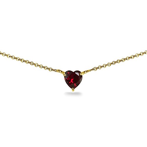 (Yellow Gold Flashed Sterling Silver Created Ruby 7x7mm Heart Dainty Choker Necklace)