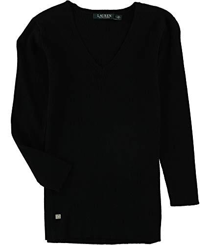 (LAUREN RALPH LAUREN Womens Ribbed Casual Pullover Sweater Black L)