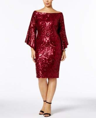 Betsy & Adam Womens Plus Sparkle Bell Sleeve Special Occasion Dress Red 14W