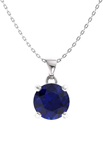 Diamondere Natural and Certified Blue Sapphire Solitaire Petite Necklace in 14k White Gold | 0.42 Carat Pendant with Chain