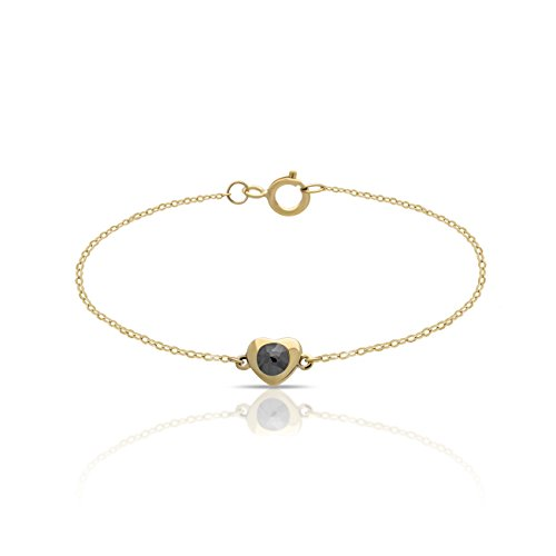 14K Yellow Gold Tiny Heart Bracelet Dainty Heart Bracelet w Black Diamond 0.15 Carat Heart Bracelet 5mm - 0.6 gram, w Clasp Gift For Her