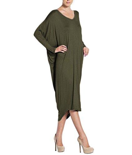 Semplice Vintage Lunghi Cerimonia Vestiti BienBien Vestito Manica Irregolare Sera Verde Festa da Lunga Eleganti Donna Partito Abito CwXqwFz