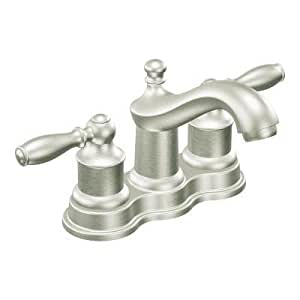 Moen 84914 lindley centerset bathroom faucet with double handles touch on bathroom sink Amazon bathroom faucets moen