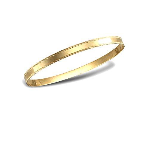 Jewelco Londres 9K bord d'or perle bande plate bracelet 5mm esclave bangle