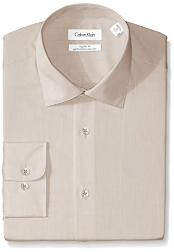 Calvin Klein Men's Regular Fit Non Iron Herringbone Spread Collar Dress Shirt, Sandstone, 18