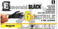 6X Black Nitrile Exam Gloves, 6 Mil, X-Large, 1000 gloves, Emerald 6103
