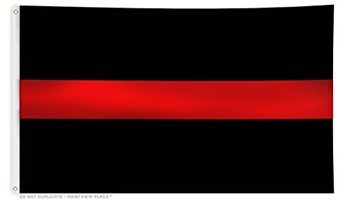 Pointview Flags Thin Red Line Flag - 3 x 5 Foot Flag with Gr